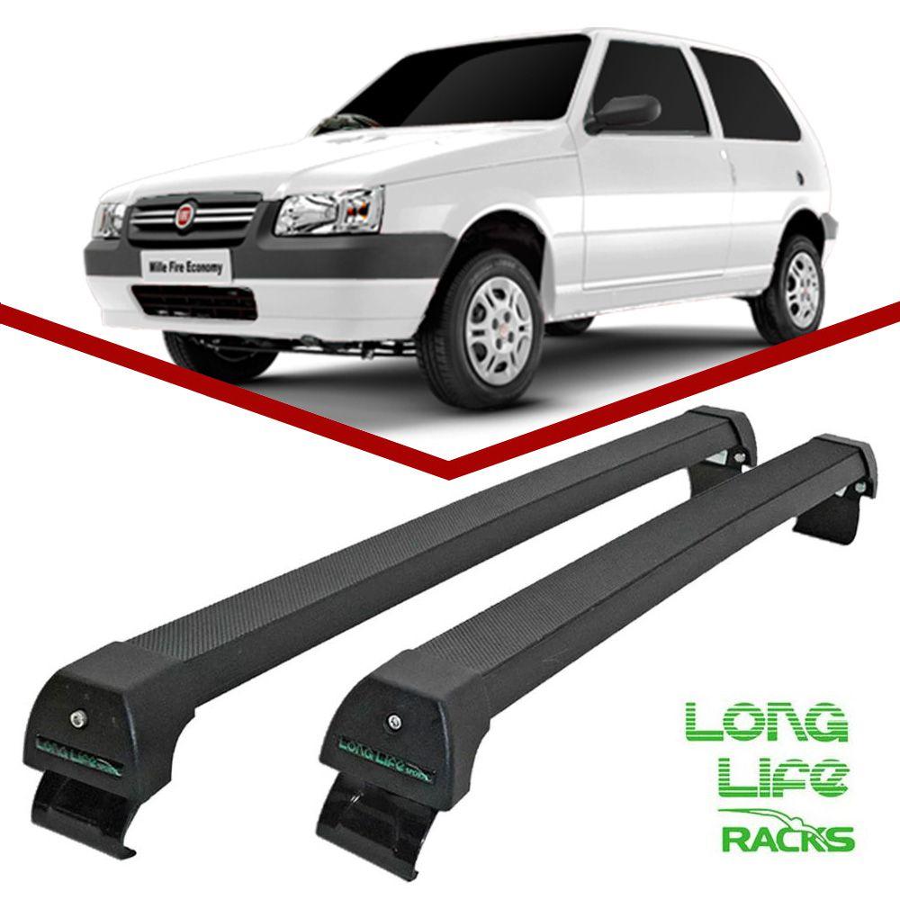 Rack Teto Bagageiro Uno 2 portas 1989 ate 2009 Longlife Modelo Aluminio Preto