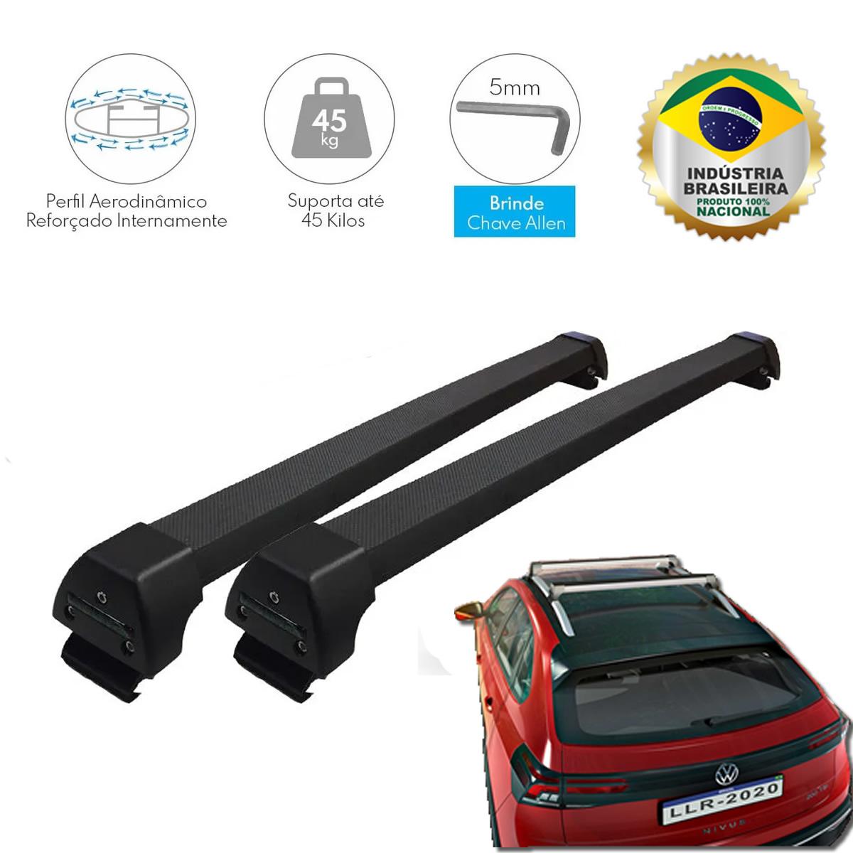 Rack Teto Bagageiro VW Nivus Com e Sem Teto Solar LongLife Alumínio Sport Preto  - Unicar
