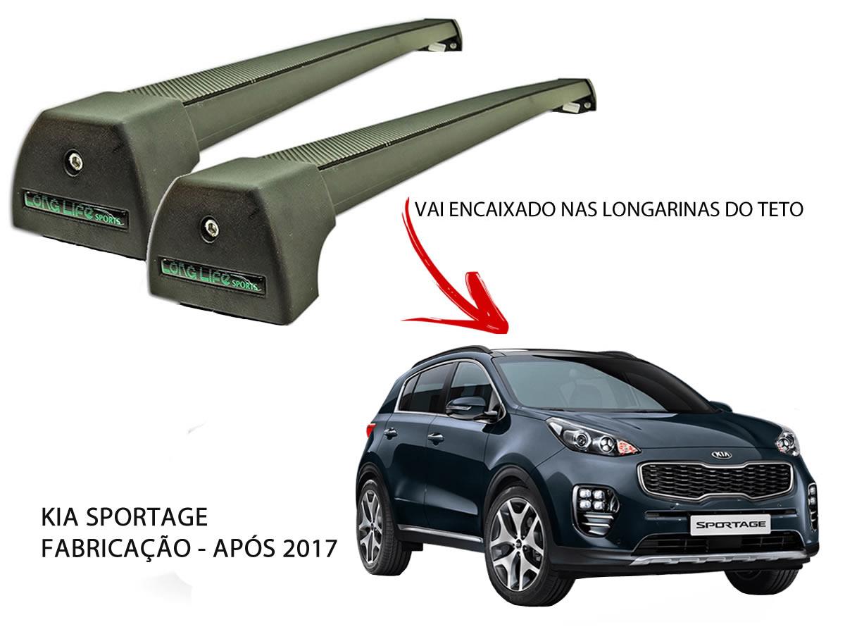 Rack Teto Kia Sportage A Partir de 2017 LongLife Sports Alumínio Preto  - Unicar