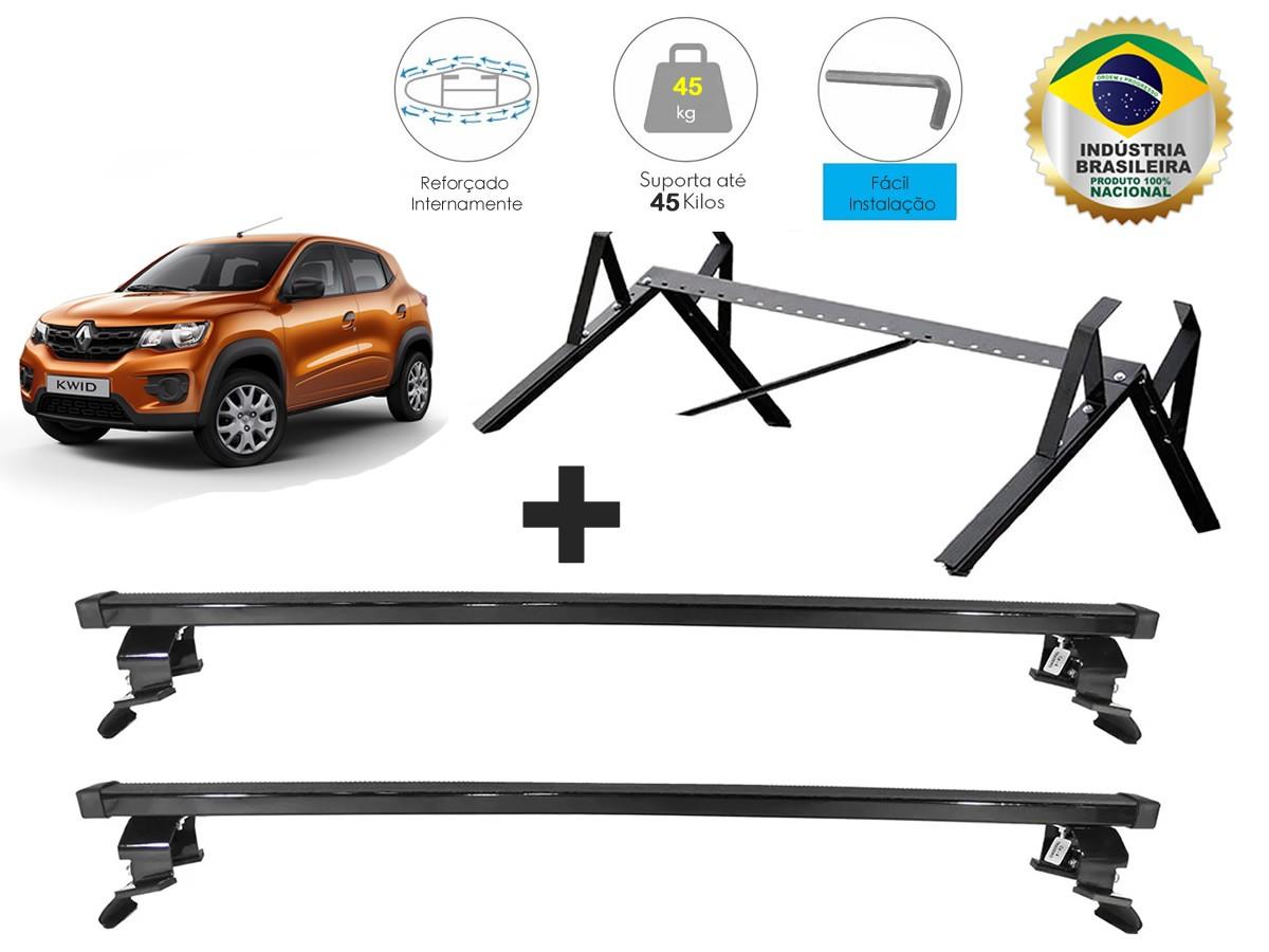 Rack Teto + Porta Escadas Renault Kwid NewLife Aço Super Resistente  - Unicar
