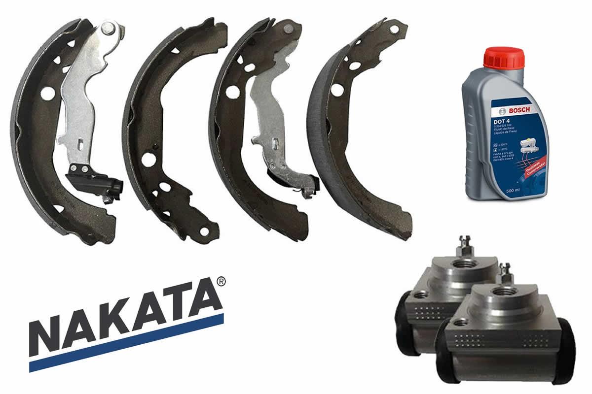 Sapata de Freio Nakata + 2 Cilindros de Roda Controil + Fluido Bosch Duster 2012 a 2017  - Unicar