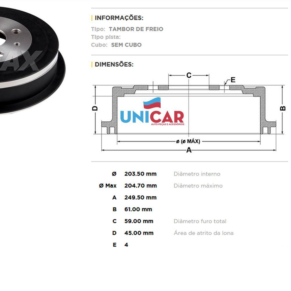 Tambor + Sapata Freio Traseiro Fiat Argo 1.0 1.3 Todos A Partir de 2017  - Unicar