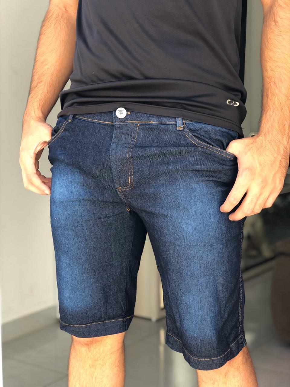 Bermuda Jeans Tradicional com Bolso Masc-1486