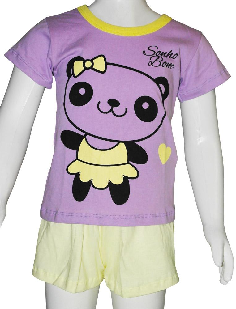 Pijama Fem. Infantil Regata e Manga Curta  - 814
