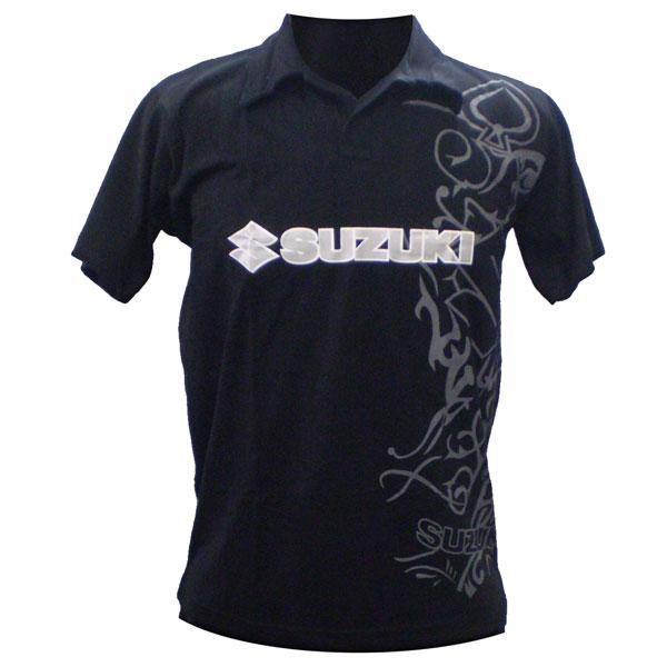 Camiseta Joc Suzuki Polo Preta  - Motosports