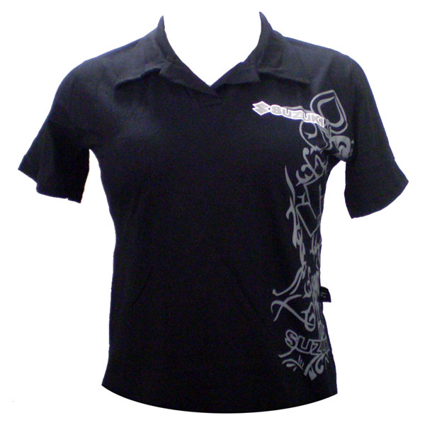 Camiseta Joc Suzuki Polo Preta Feminina  - Motosports