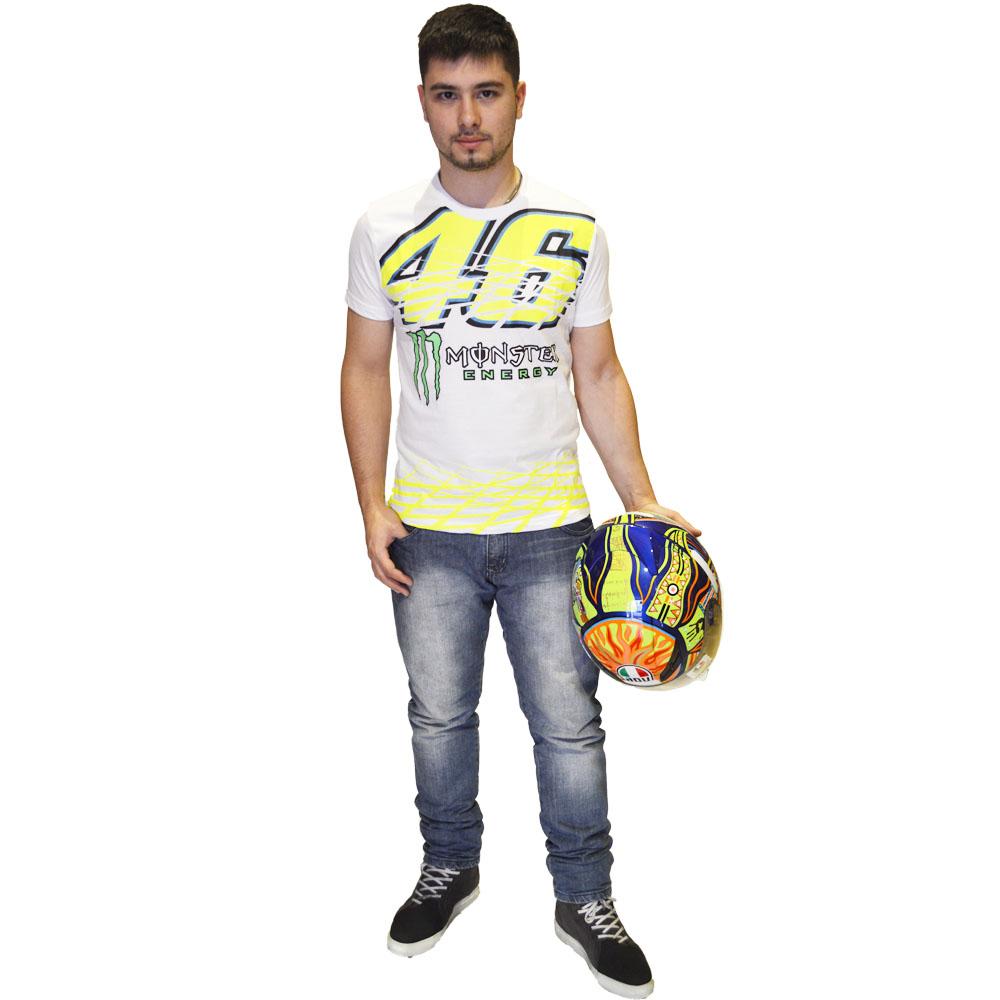 Camiseta Valentino Rossi 46 Monster energy Branca  - Motosports