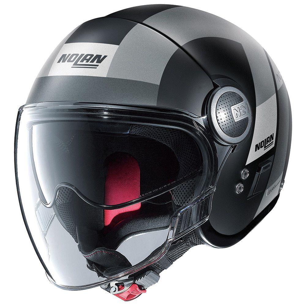 Caoacete Nolan N21 Spheroid Flet Preto/Cinza (48) C/ Viseira Solar Interna  - Motosports