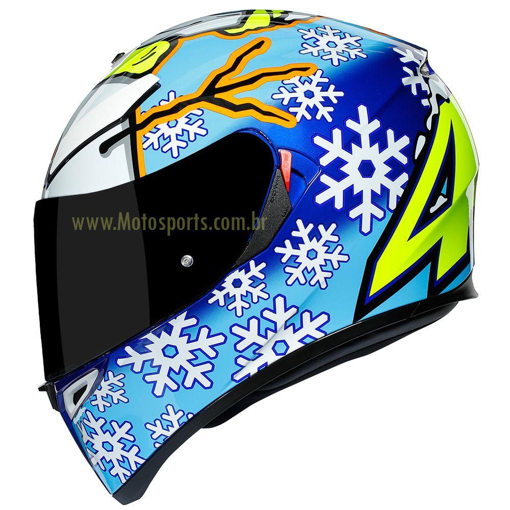 Capacete AGV K-3 SV Winter Test 16 Valentino Rossi C/ Viseira Interna Solar   - Motosports