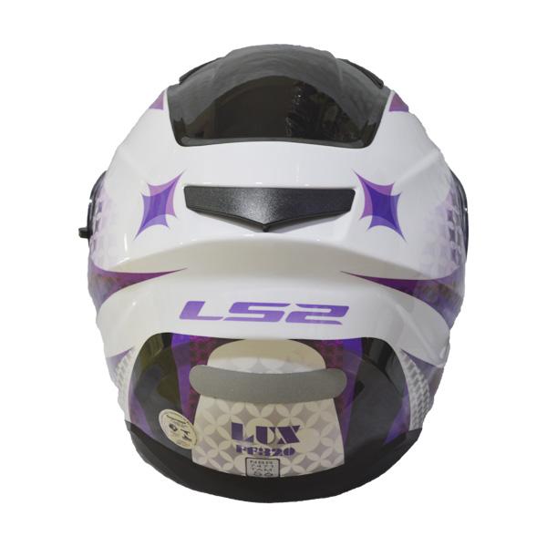 CAPACETE LS2 FF320 STREAM LUX - BRANCO E ROXO - COM VISEIRA INTERNA   - Motosports