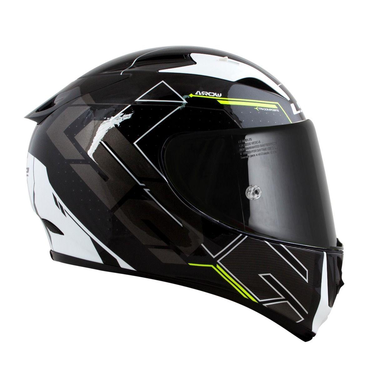 CAPACETE LS2 FF323 ARROW R TECHNO PRETO/BRANCO/AMARELO  - Motosports