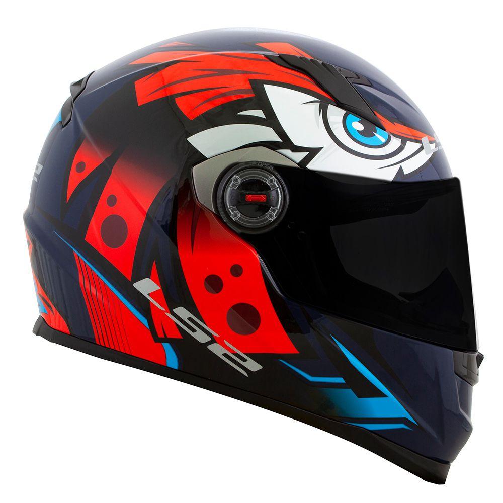 CAPACETE LS2 FF358 TRIBAL - AZUL/LARANJA  - Motosports