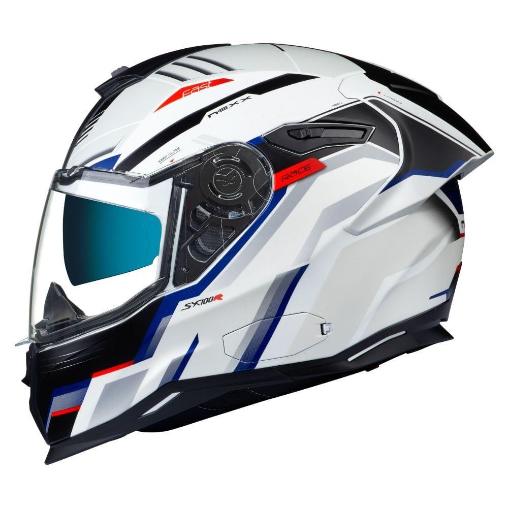 CAPACETE NEXX SEX100R GRIDLINE BRANCO AZUL FOSCO  - Motosports