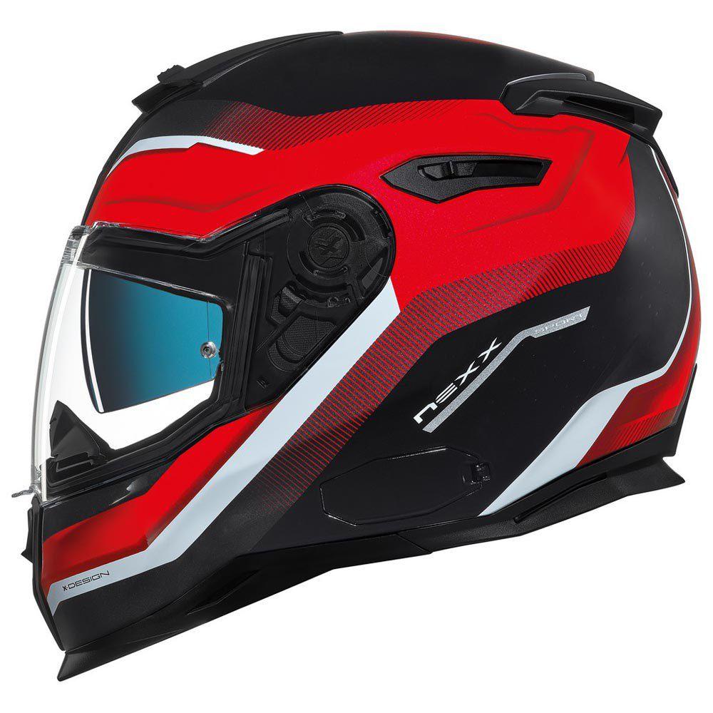 Capacete Nexx SX100 Mantik Preto/Vermelho Com Viseira Solar e Pinlock Anti-Embaçante  - Motosports