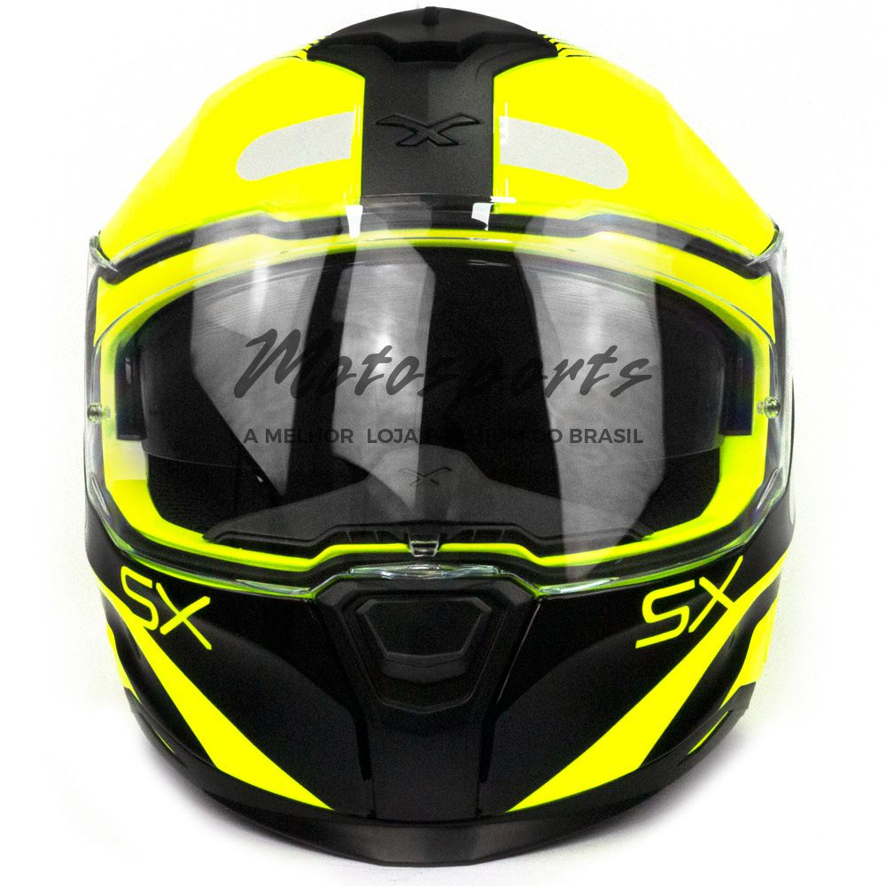 Capacete Nexx SX100 Popup Amarelo/Preto Com Viseira Solar  - Motosports