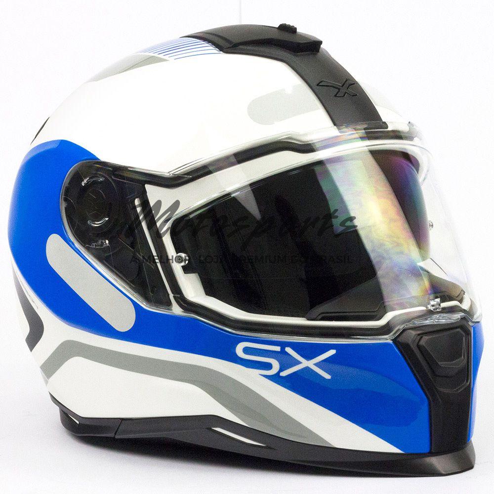 Capacete Nexx SX100 Popup Branco/Azul Com Viseira Solar  - Motosports