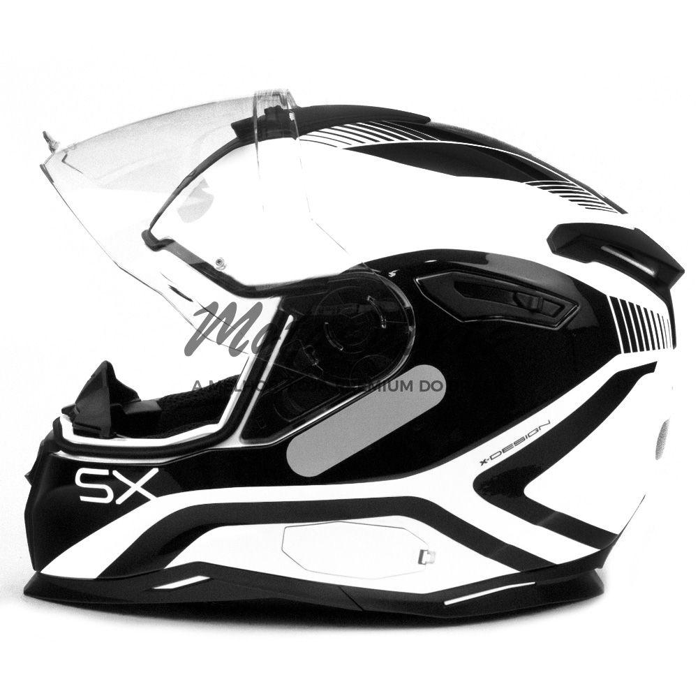 Capacete Nexx SX100 Popup Branco/Preto Com Viseira Solar   - Motosports