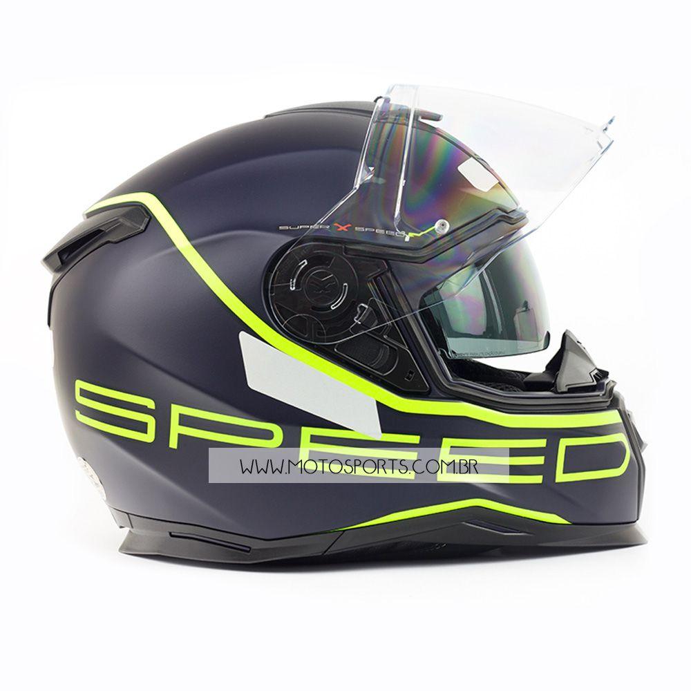 Capacete Nexx SX100 Super Speed Azul/Amarelo Fosco Com Viseira Solar e Pinlock Anti-Embaçante  - Motosports