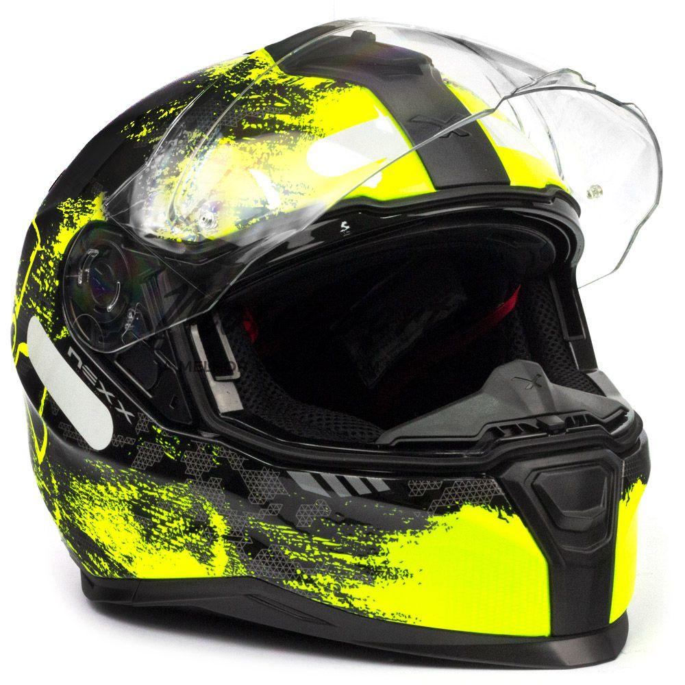 Capacete Nexx SX100 Toxic Amarelo/Preto Com Viseira Solar  - Motosports