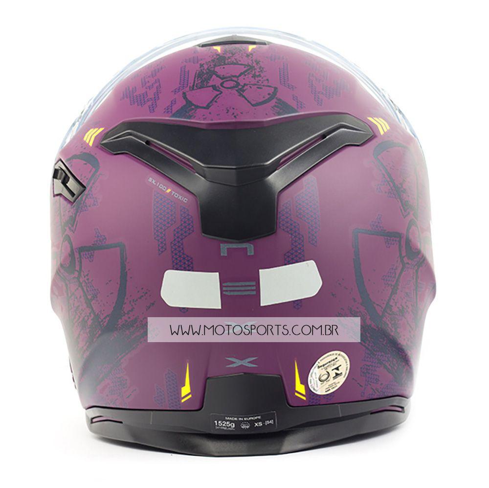 Capacete Nexx SX100 Toxic Rosa/Roxo Fosco Feminino Com Viseira Solar e Pinlock Anti-Embaçante   - Motosports