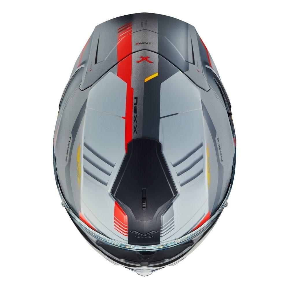 Capacete Nexx SX100R Gridline Cinza Vermelho Fosco  - Motosports