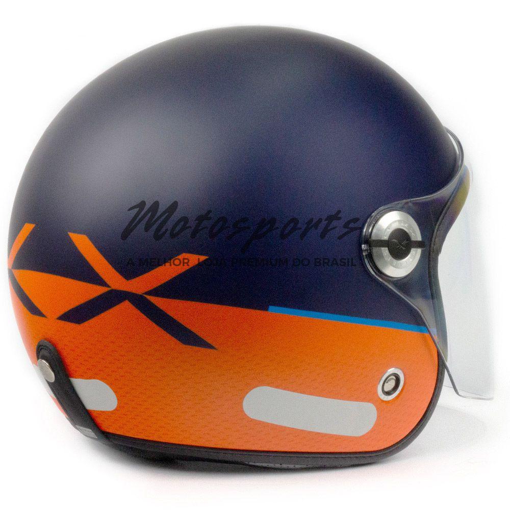Capacete Nexx X70 City Azul/Laranja (Fosco) Tri-composto c/ Viseira reta  - Motosports