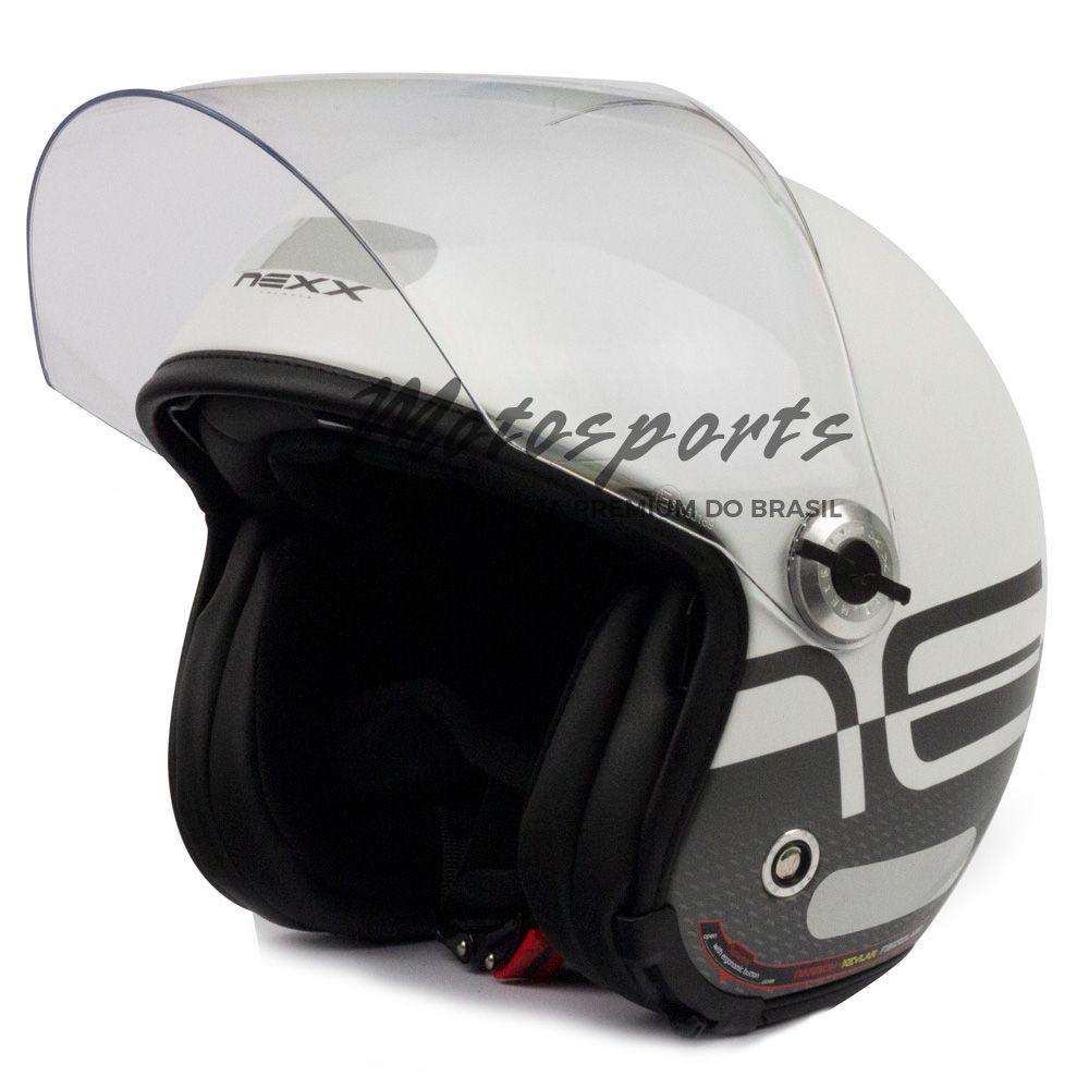 Capacete Nexx X70 City Branco/Preto Fosco Aberto Tri-composto c/ Viseira reta  - Motosports