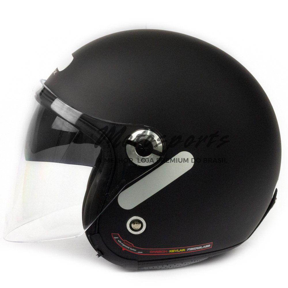 Capacete Nexx X70 City Preto Fosco Aberto Tri-composto c/ Viseira reta - MegaOferta!  - Motosports