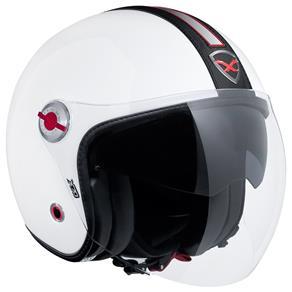 Capacete Nexx X70 Groovy Branco c/ Preto Tri-Composto Aberto c/ Viseira Solar  - Motosports