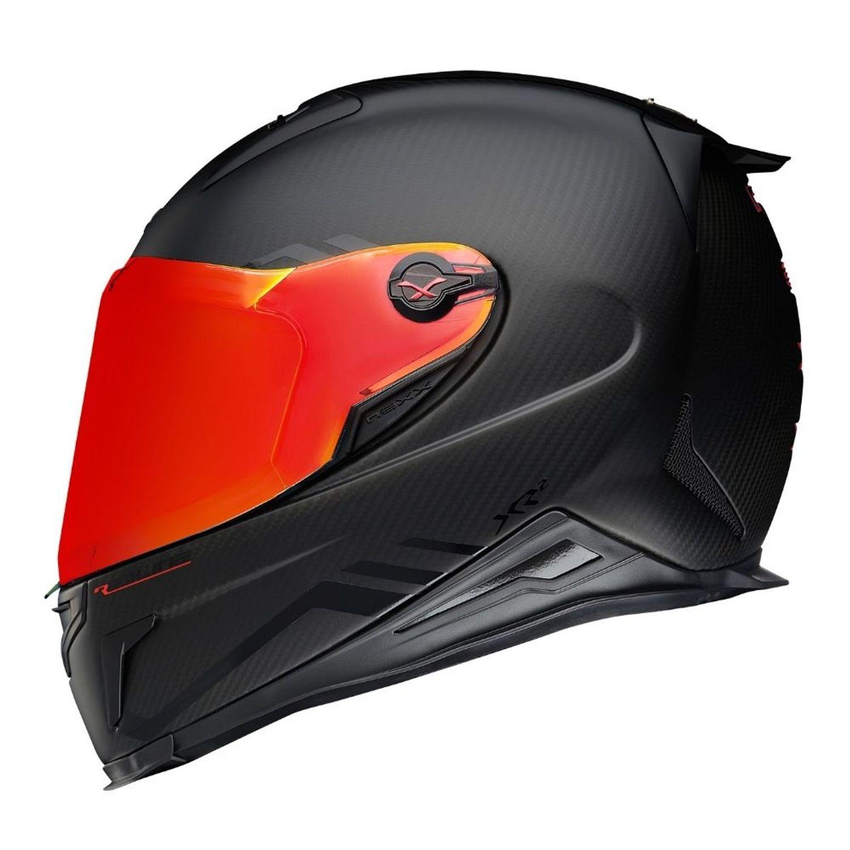 Capacete Nexx XR2 Carbon Redline Preto/Vermelho - Acompanha Viseira Vermelha e Cristal  - Motosports