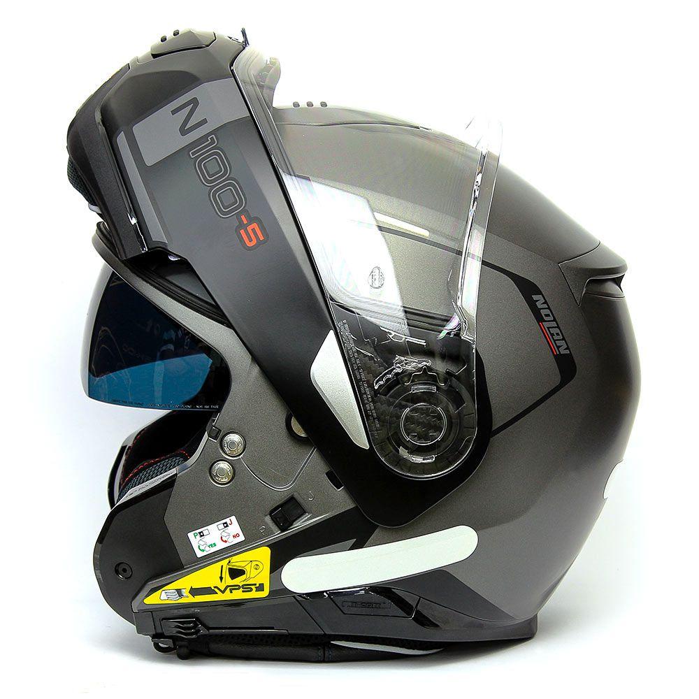 Capacete Nolan N100-5 Consistency Cinza /20 Escamoteável C/ Viseira Solar - Ganhe Touca Balaclava  - Motosports