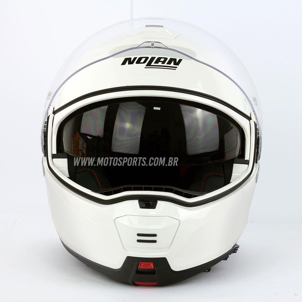 Capacete Nolan N100-5 Consistency Classic Branco (5) Escamoteável C/ Viseira Solar - Ganhe Touca Balaclava  - Motosports