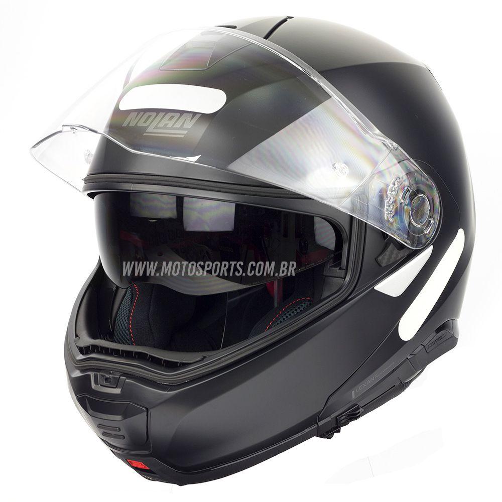 Capacete Nolan N100-5 Consistency Classic Preto (10) Escamoteável C/ Viseira Solar - Ganhe Touca Balaclava  - Motosports