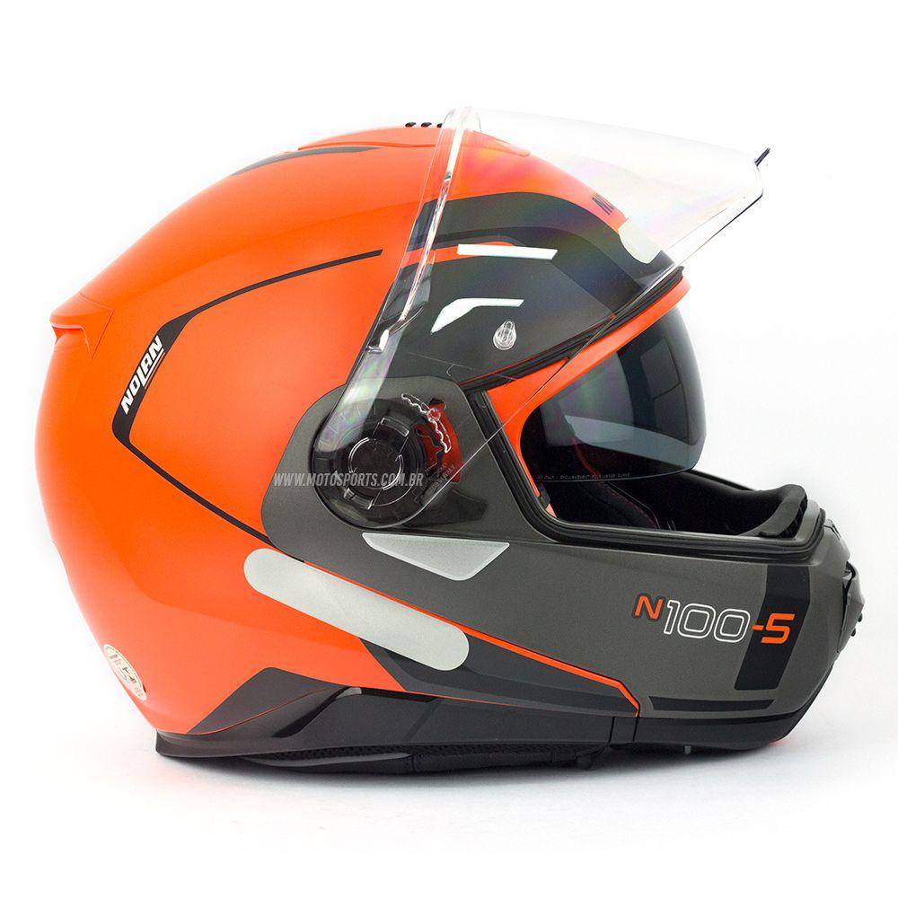 Capacete Nolan N100-5 Consistency Laranja/Cinza (27) Escamoteável C/ Viseira Solar - Ganhe Touca Balaclava  - Motosports