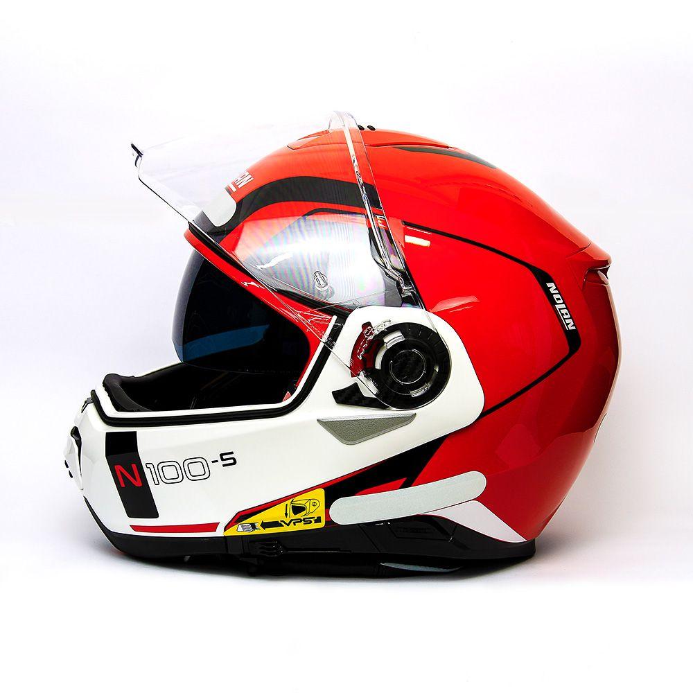 Capacete Nolan N100-5 Consistency Vermelho/23 Escamoteável C/ Viseira Solar - Ganhe Touca Balaclava  - Motosports