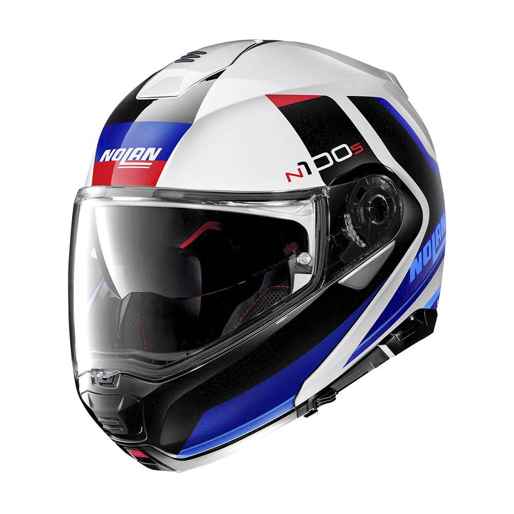 Capacete Nolan N100-5 Hilltop Branco/AZ/Preto 49 Escamoteável - Ganhe Touca Balaclava  - Motosports
