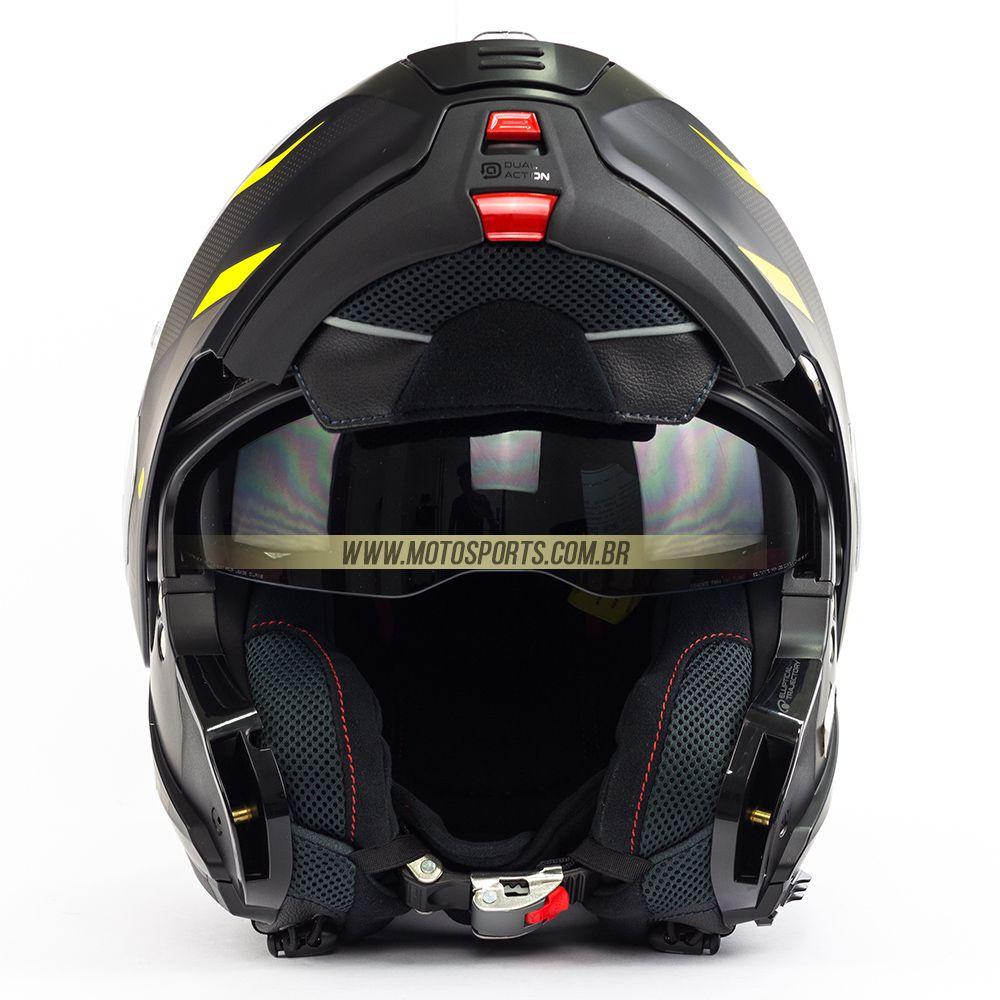 Capacete Nolan N100-5 Lumiere Amarelo 37 Escamoteável C/ Viseira Solar - Ganhe Touca Balaclava  - Motosports