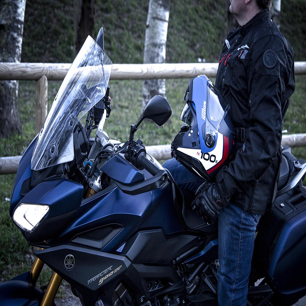 Capacete Nolan N100-5 Plus Distinctive Imperial Blue 29 Escamoteável - Ganhe Touca Balaclava  - Motosports