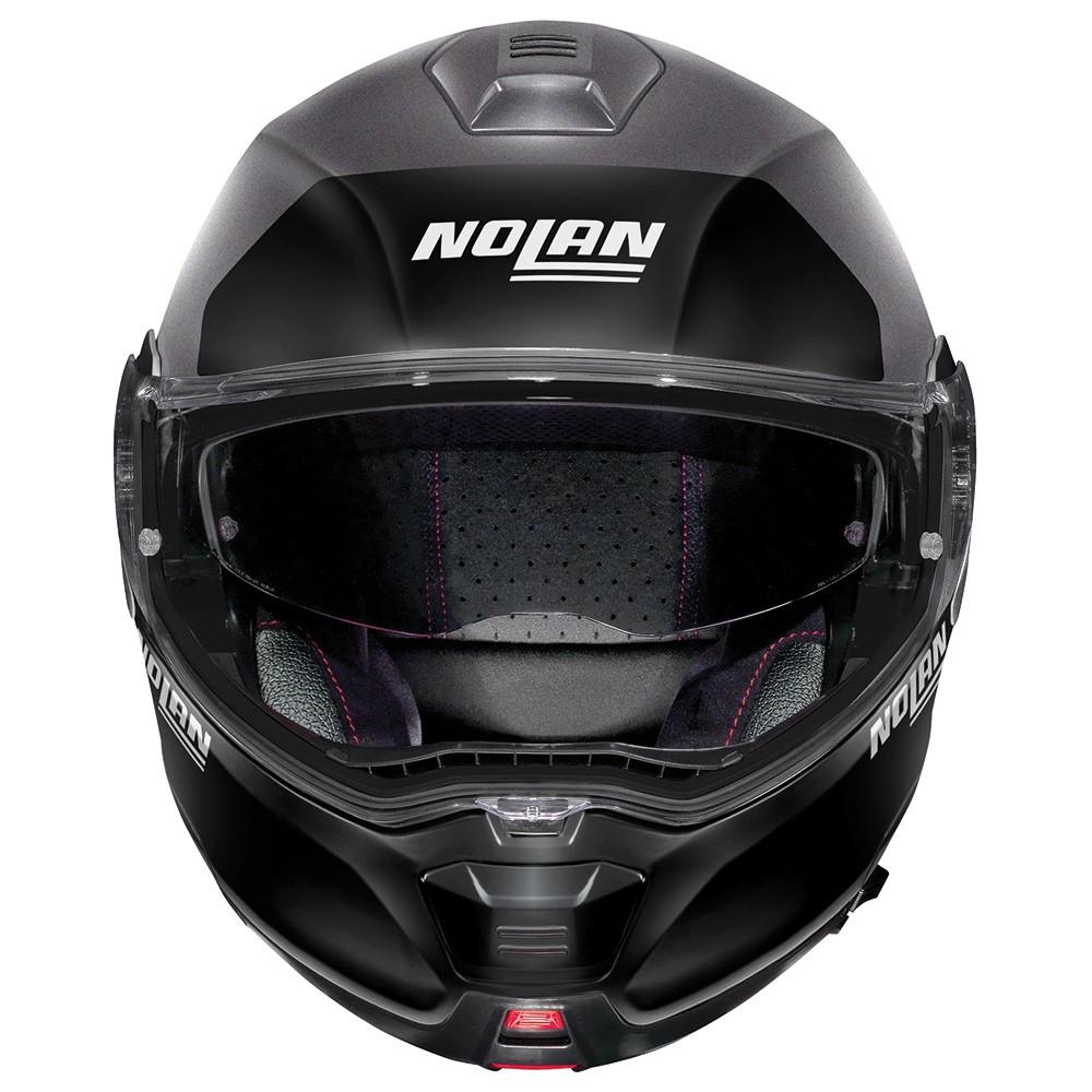 Capacete Nolan N100-5 Plus Distinctive Preto/Branco/Azul Escamoteável C/ Viseira Solar - Ganhe Touca Balaclava  - Motosports