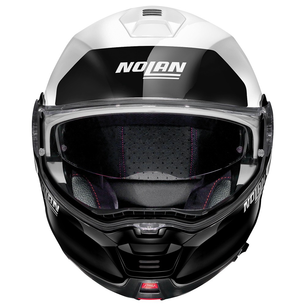 Capacete Nolan N100-5 Plus Distinctive Preto/Branco Escamoteável C/ Viseira Solar - Ganhe Touca Balaclava  - Motosports