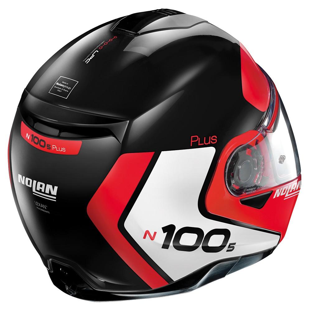 Capacete Nolan N100-5 Plus Distinctive Preto/Branco/Vermelho Escamoteável C/ Viseira Solar - Ganhe Touca Balaclava  - Motosports