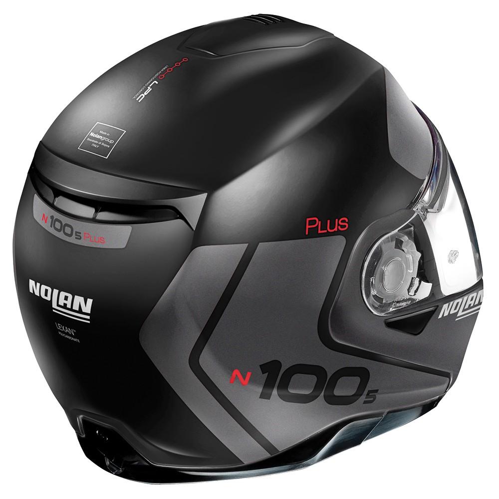Capacete Nolan N100-5 Plus Distinctive Preto/Cinza Escamoteável C/ Viseira Solar - Ganhe Touca Balaclava  - Motosports