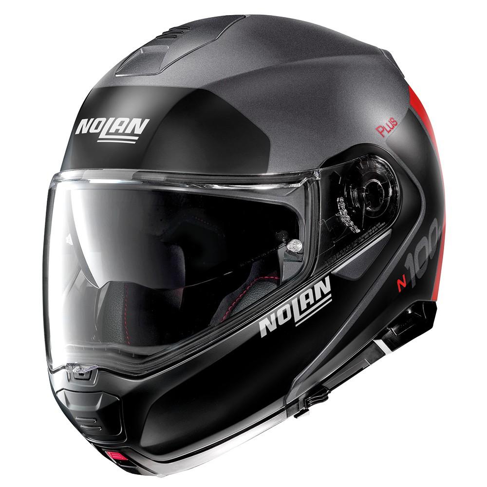 Capacete Nolan N100-5 Plus Distinctive Preto/Cinza/Vermelho Escamoteável C/ Viseira Solar - Ganhe Touca Balaclava  - Motosports