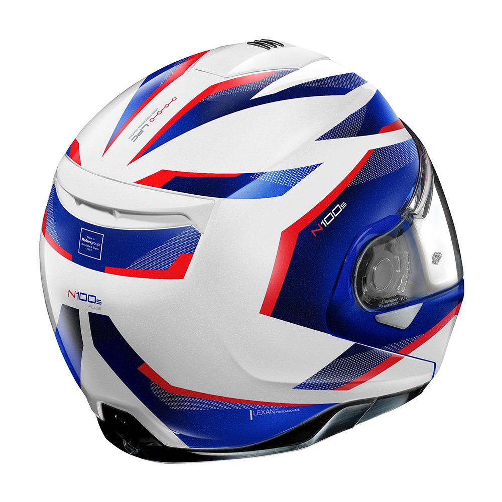 Capacete Nolan N100-5 Plus Overland Branco/Azul/Vermelho BMW (35) Escamoteável C/ Viseira Solar - Ganhe Touca Balaclava  - Motosports