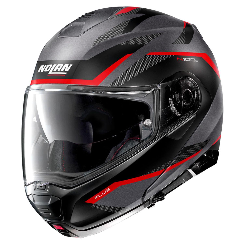 Capacete Nolan N100-5 Plus Overland Cinza/Vermelho Fosco (32) Escamoteável C/ Viseira Solar - Ganhe Touca Balaclava  - Motosports