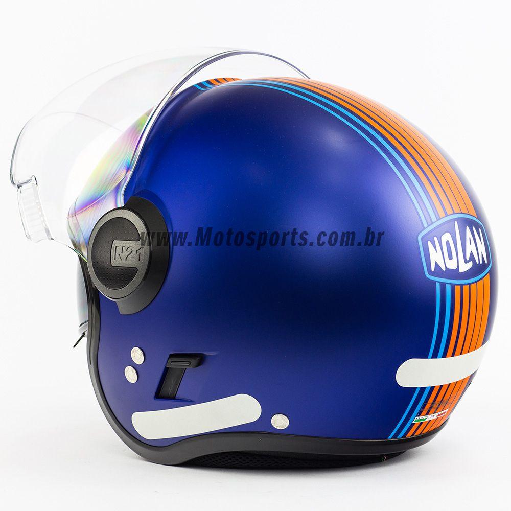 Capacete Nolan N21 Joie De Vivre Azul Cayman - C/ Viseira Solar Interna  - Motosports