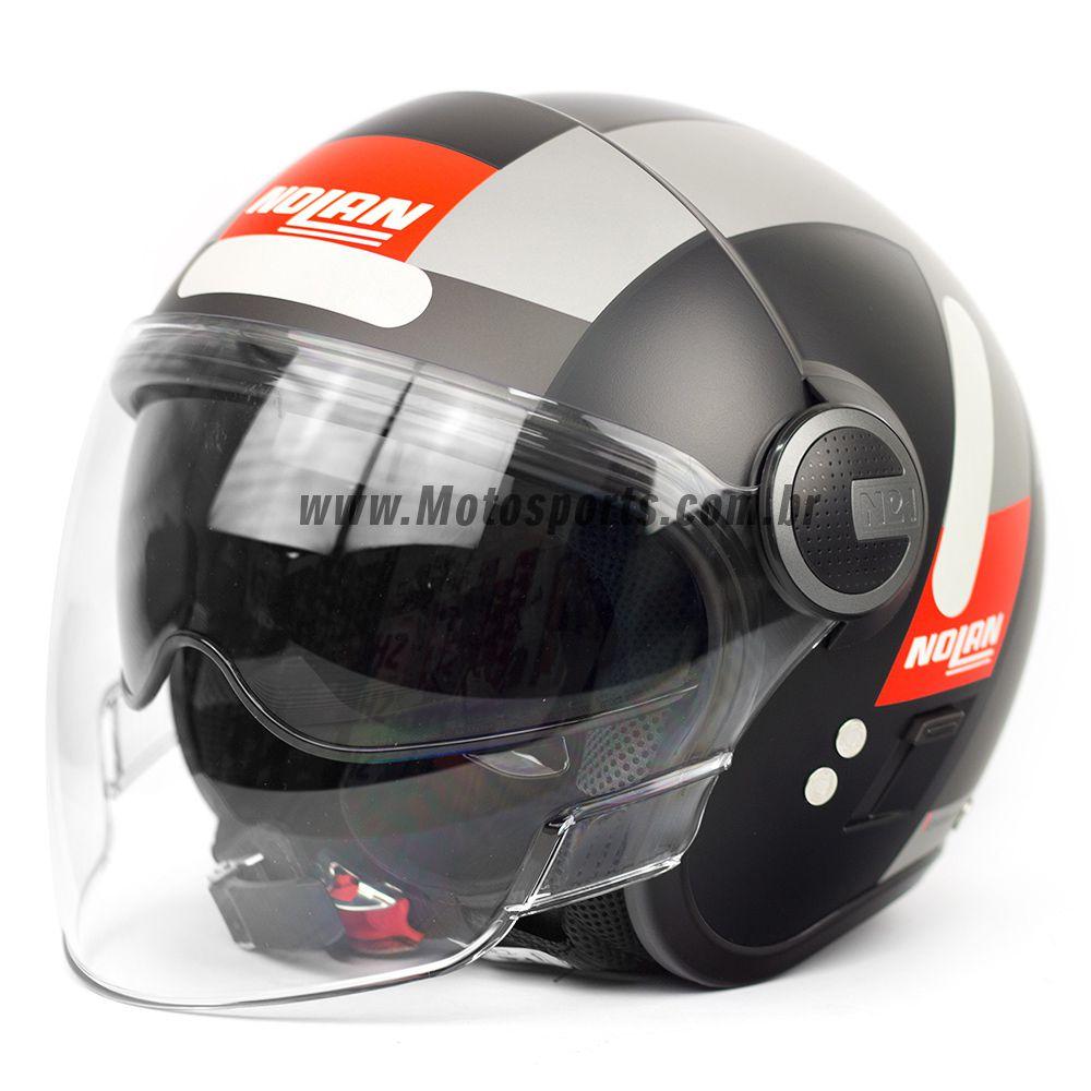 Capacete Nolan N21 Spheroid Flat Black/Red 51 - C/ Viseira Solar Interna  - Motosports