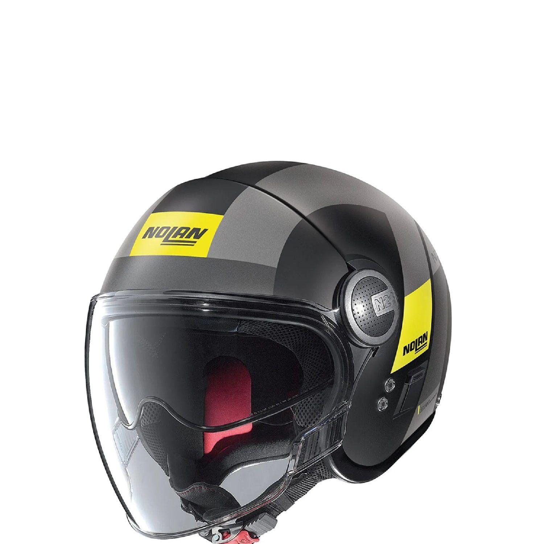 Caoacete Nolan N21 Spheroid Flat Preto/Amarelo (49) C/ Viseira Solar Interna  - Motosports