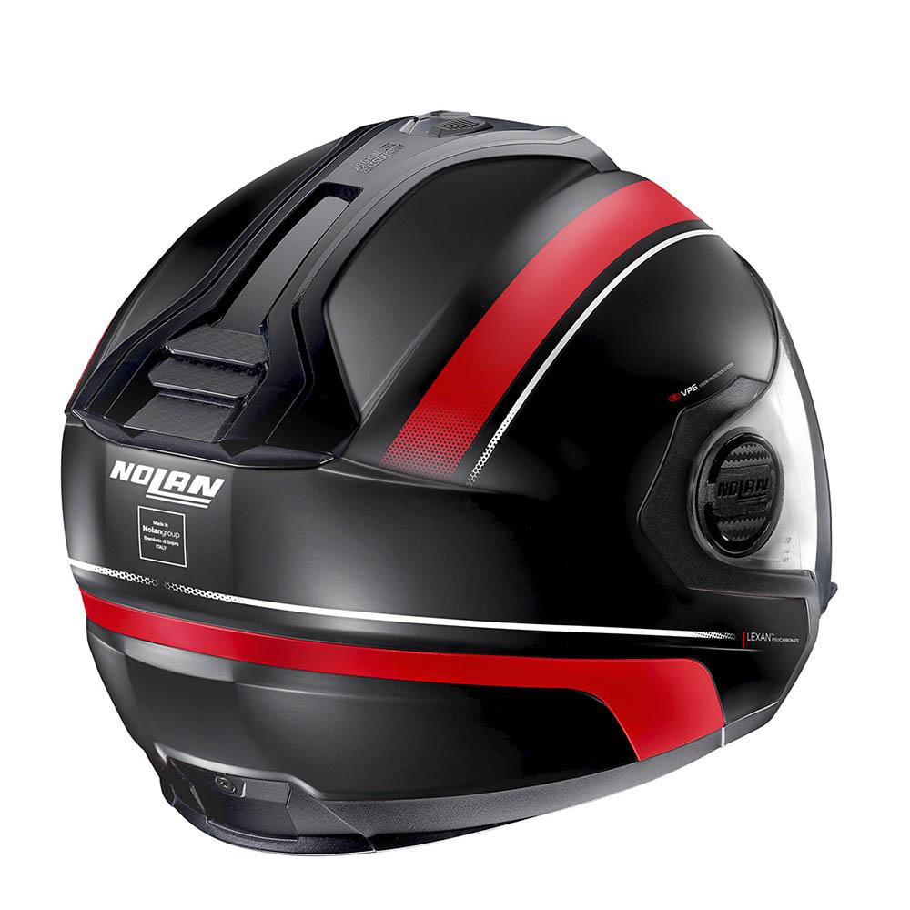 Capacete Nolan N40-5 Resolute Preto/Vermelho 17 C/ Viseira Solar Interna  - Motosports