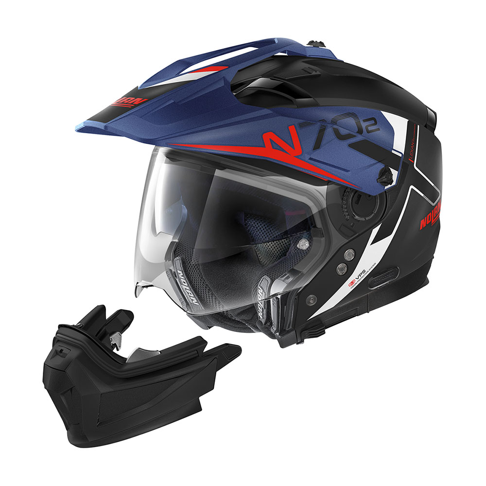 Capacete Nolan N70-2X BUNGEE Preto/Azul (38) Big Trail / Off-Road C/ Viseira Solar - Ganhe Touca Balaclava  - Motosports